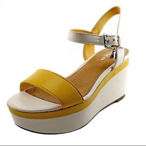Coach Yellow White Open Toe Leather Wedge Sandals